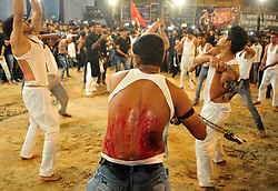 October 28, 2016 - Allahabad, Uttar Pradesh, India - Allahabad: Shia Muslim devotee hit themself by a bunch of knief during take part in Ashura'a Taziya parade held in Allahabad on 28-10-2016, Muharram is celebrated to mark the climax of the mourning which is Called Ashura, The ccommenmoration of Imam Hussain's. photo by prabhat kumar verma (Credit Image: © Prabhat Kumar Verma via ZUMA Wire)