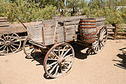 "Remodelled local farm wagon. See historical mining and transportation equipment at the Borax Museum at Furnace Creek Ranch, in Death Valley National Park, California, USA. The oldest house in Death Valley was built in 1883 by F.M. ""Borax"" Smith in Twenty Mule Team Canyon, then moved here by his Pacific Coast Borax Company in 1954 to serve as a museum."