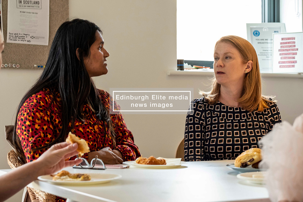 Pictured: Shirley-Ann Somerville <br /><br />Today Shirley-Ann Somerville MSP, Cabinet Secretary for Social Security, visited Stepping Stones inn Edinburgh and met parents who may be eligible for the Scottish Child payment, which is a new GBP10-a-week payment for every child aged up to six as part of measures to lift 30,000 children out of poverty.<br /><br />Ger Harley   EEm 4 September 2019