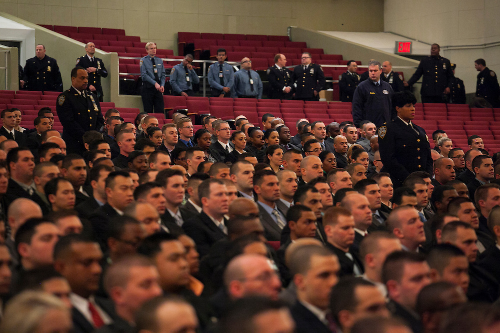 NYPD recruits are pictured before Mayor Bill de Blasio administers the Oath of Office to NYPD Recruits at Queens College, 65-30 Kissena Blvd, Flushing, NY on Thursday, Jan. 9, 2014.<br /> <br /> CREDIT: Andrew Hinderaker for The Wall Street Journal<br /> SLUG: NYSTANDALONE