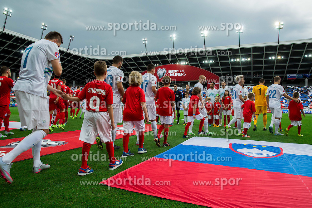 Players coming to court during the EURO 2016 Qualifier Group E match between Slovenia and England at SRC Stozice on June 14, 2015 in Ljubljana, Slovenia. Photo by Vid Ponikvar / Sportida