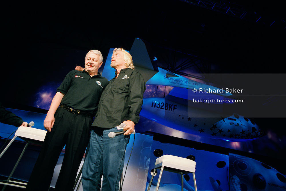 Frequent flyer astronaut Alan Watts is presented to the media and space industry commentators by Sir Richard Branson during the Wired NextFest science fair, at the Jacob K. Javits Convention Center, New York City in his north London home, England. Alan, 51, runs an electrical company and qualified for a free space space flight after being contacted by Sir Richard Branson's Virgin Galactic space company, having accumulated 2 million air miles on the Virgin Atlantic flight network. Aboard the re-usable space vehicle will be 6 passengers, each of whom will have paid $200,000 for the 40 minute flight to 360,000 feet (109.73km, or 68.18 miles) and to experience just 6 minutes of weighlessness. Flights start around 2009/10 at the new Philippe Starck-designed SpacePort America, New Mexico, USA. a 27 square mile, $225 million facility near Las Cruces.  .