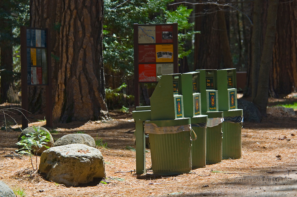 Bear Proof garbage cans and camper information signs in Campground, Yosemite Valley, Yosemite National Park, California