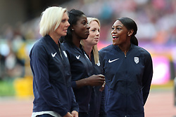 London, 2017-August-04. Perri Shakes-Drayton congratulates teammates Nicola Sanders, Christine Ohuruogu and Lee McConnell of Great Britain after being awarded their reallocated bronze medals from the 4x400m Womens relay at the 2011 Daegu Championships at the IAAF World Championships London 2017. Paul Davey.