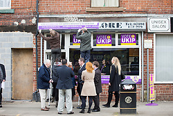 © Licensed to London News Pictures. 18/04/2016. Sheffield UK. Picture shows the UKIP shop being built this morning before Nigel Farage's visit. Nigel Farage has been in sheffield today to support Steve Winstone's campaign in the Sheffield Brightside & Hillsborough by election. Photo credit: Andrew McCaren/LNP
