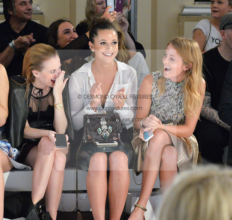 Left to right, ROSIE FORTESCUE, ROXIE NAFOUSI  and MILLIE MACKINTOSH at the Gyunel Spring Summer 2015 fashion show as part of London Fashion week 2015 held at Victoria House, Bloomsbury Square, London on 12th September 2014.
