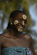 Traditional face painting done by the local women of Nosy Komba Island. This island had a population of semi-tame Black lemurs and tourists come especially to see them and the locals do various things to make a dollar or two from the visitors.<br />