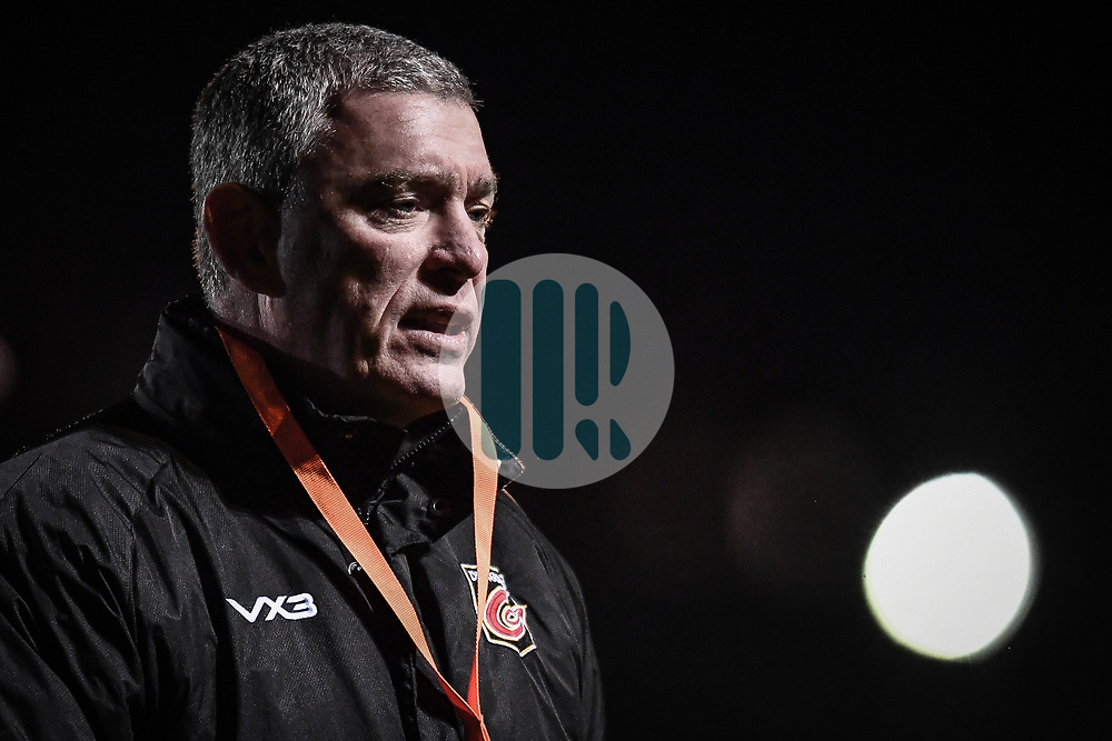 Head Coach Dean Ryan of Dragons during the pre match warm up<br /> <br /> Photographer Craig Thomas/Replay Images<br /> <br /> Guinness PRO14 Round 7 - Dragons v Zebre - Saturday 30th November 2019 - Rodney Parade - Newport<br /> <br /> World Copyright © Replay Images . All rights reserved. info@replayimages.co.uk - http://replayimages.co.uk