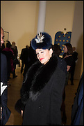 KIM MURDOCH at the Private view for A Strong Sweet Smell of Incense<br /> A Portrait of Robert Fraser, Curated by Brian Clarke. Pace Gallery. 6 Burlington Gardens. London. 5 February 2015.