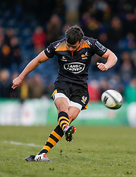 Wasps replacement Alex Lozowski kicks the conversion after  Ben Jacobs goes over to score the final try of the Clubs time at Adams Park, with their next match set to be played at their new home in Coventry, the Ricoh Arena - Photo mandatory by-line: Rogan Thomson/JMP - 07966 386802 - 14/12/2014 - SPORT - RUGBY UNION - High Wycombe, England - Adams Park Stadium - Wasps v Castres Olympique - European Rugby Champions Cup Pool 2.