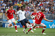 Thomas DELANEY of Denmark, Ousmane DEMBELE of France and Jens STRYGER LARSEN of Denmark during the 2018 FIFA World Cup Russia, Group C football match between Denmark and France on June 26, 2018 at Luzhniki Stadium in Moscow, Russia - Photo Thiago Bernardes / FramePhoto / ProSportsImages / DPPI