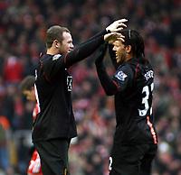 Photo: Mark Stephenson/Sportsbeat Images.<br /> Liverpool v Manchester United. The FA Barclays Premiership. 16/12/2007.Carlos Tevez celebrates his goal with Wayne Rooney