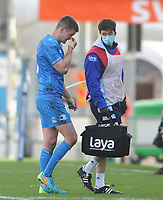Rugby Union - 2020 / 2021  ER Champions Heineken Cup - Quarter-final - Exeter Chiefs vs Leinster - Sandy Park<br /> <br /> Johnny Sexton of Leinster leaves the field injured<br /> <br /> Credit : COLORSPORT/ANDREW COWIE