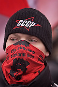 Moscow, Russia, 12/02/2005..Several thousand people demonstrate in central Moscow as part of a nationwide series of protests against recent social reforms which have replaced Soviet era benefits with cash payments. Masked anarchists at the protest.