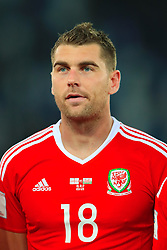 Wales' Sam Vokes during the 2018 FIFA World Cup Qualifying, Group D match at the Boris Paichadze Dinamo Arena, Tbilisi. PRESS ASSOCIATION Photo. Picture date: Friday October 6, 2017. See PA story SOCCER Georgia. Photo credit should read: Tim Goode/PA Wire. RESTRICTIONS: Editorial use only, No commercial use without prior permission.