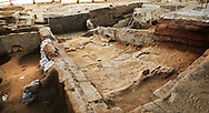 Neolithic remains of mud brick houses walls of the north ecavation area, 7500 BC to 5700 BC, Catalyhoyuk Archaeological Site, Çumra, Konya, Turkey