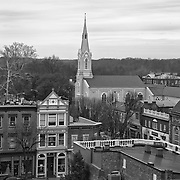 Rooftop view of Fredericksburg, Virginia highlighted by the Star Building and Baptist Church.
