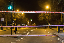 Victoria Embankment, London, January 19th 2017. Police seal off Victoria Embankment near the Houses of Parliament, following the discovery of an unexploded World War II bomb by construction workers. Two of London's busiest stations were temporarily evacuated and both Westminster and Waterloo bridges were closed for a short time. PICTURED: Police cordon at Victoria Embankment near Hungerford Bridge.