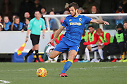 AFC Wimbledon defender Jon Meades (3) passing the ball during the EFL Sky Bet League 1 match between AFC Wimbledon and Walsall at the Cherry Red Records Stadium, Kingston, England on 25 November 2017. Photo by Matthew Redman.