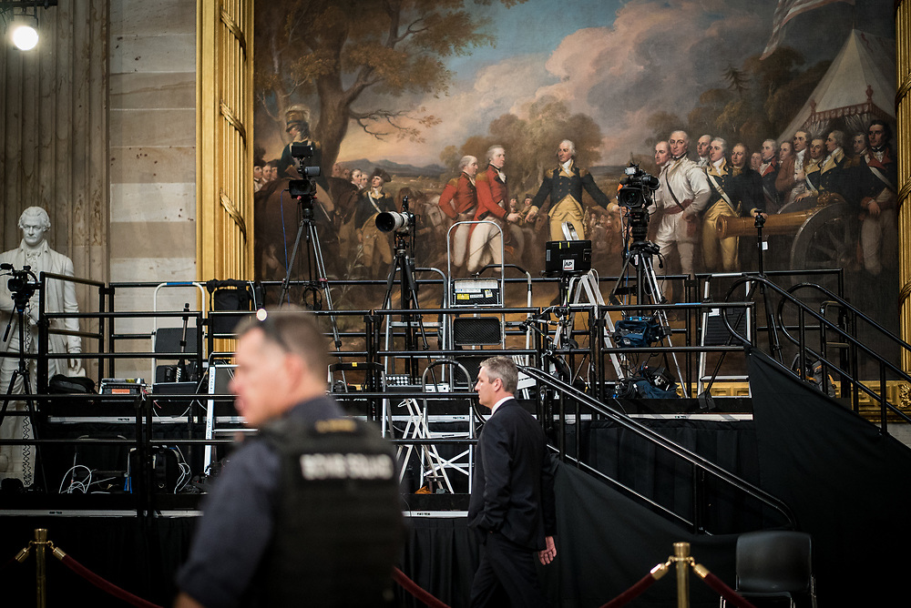 United States Secret Service members sweep the U.S. Capitol Rotunda before the casket of Former President George H.W. Bush arrives on Dec. 3, 2018.