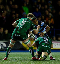 Rey Lee-Lo of Cardiff Blues looks to offload<br /> <br /> Photographer Simon King/Replay Images<br /> <br /> Guinness PRO14 Round 14 - Cardiff Blues v Connacht - Saturday 26th January 2019 - Cardiff Arms Park - Cardiff<br /> <br /> World Copyright © Replay Images . All rights reserved. info@replayimages.co.uk - http://replayimages.co.uk