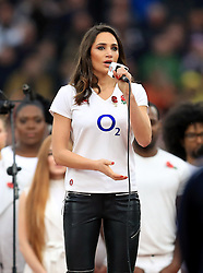 Laura Wright performs before the Autumn International match at Twickenham Stadium, London.