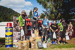 Jure Zabjek and Ziga Pandur of Unior Tools Team Slovenia during downhill competition Sorca 2015 at Smucarski center Soriska Planina, Slovenia. Photo by Grega Valancic / Sportida