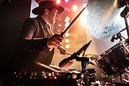 Josh Halpern drumming for British dream-pop duo Still Corners at Hafen 2 in Offenbach