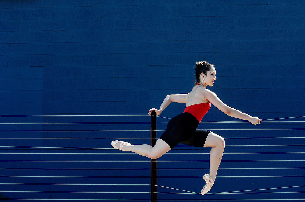 """Amelia Gandar shows off her poise and athleticism outside the Missouri Contemporary Ballet's new rehearsal studios on Orr Street in Columbia, Missouri. The company has renewed its commitment to modern choreography and ensures future performances will be """"cutting edge."""""""