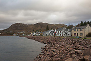 Shieldaig village looking north along the sea-front on the 4th November 2018 in Shieldaig, Scotland in the United Kingdom. Shieldaig is a village in Wester Ross in the Northwest Highlands of Scotland.