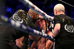 Jamie Conlan receives treatment for an injury during the IBF Super-Flyweight Championship of the World bout at the SSE Arena Belfast. PRESS ASSOCIATION Photo. Picture date: Saturday November 18, 2017. See PA story BOXING Belfast. Photo credit should read: Liam McBurney/PA Wire