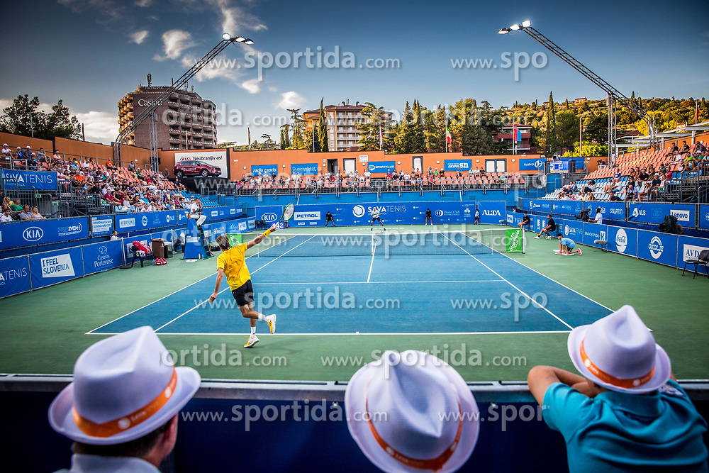 Stefanos Tsitsipas (GRE) playing in Semifinal against Sergiy Stakhovsky (UKR) during Tennis tournament  ATP Challenger Zavarovalnica Sava Slovenia Open 2017, on August 11, 2017 in Sports centre, Portoroz/Portorose, Slovenia. Photo by Vid Ponikvar / Sportida