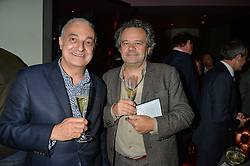 Left to right, FERNANDO PEIRE Director of The Ivy restaurant and MARK HIX at the GQ Food & Drink Awards 2016 presented by Veuve Clicquot held at 100 Wardour Street, Soho, London on 26th April 2016.