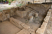 Israel, Ramat Hanadiv near Zichron Yaacov. Ruins of a Roman Bathhouse at an ancient agricultural settlement. Horvat Aqav archaeological site at Ramat Hanadiv is a nature park and garden covering 4.5 km at the southern end of Mount Carmel, Israel