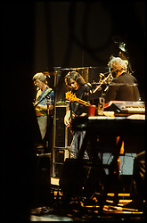 Phil Lesh, Bob Weir & Jerry Garcia, stage left. The Grateful Dead in Concert at the Brendan Bryne Arena, East Rutherford NJ, on April 1st 1988.