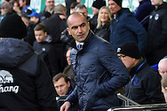 Everton Manager Roberto Martinez looks on prior to kick off. Barclays Premier League match, Everton v West Bromwich Albion at Goodison Park in Liverpool on Saturday 13th February 2016.<br /> pic by Chris Stading, Andrew Orchard sports photography.