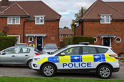 © Licensed to London News Pictures. 29/10/2019. Beaconsfield, UK. Police maintain a scene watch at a property in Hyde Green, Beaconsfield. Thames Valley Police have launched an investigation after the death of a woman. A 44-year-old man from Beaconsfield has been arrested on suspicion of murder. Photo credit: Peter Manning/LNP