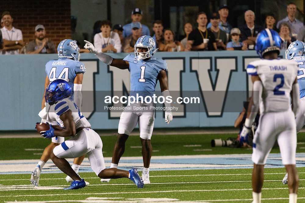 CHAPEL HILL, NC - SEPTEMBER 11: Kyler McMichael #1 of the North Carolina Tar Heels plays during a game against the Georgia State Panthers on September 11, 2021 at Kenan Stadium in Chapel Hill, North Carolina. North Carolina won 59-17. (Photo by Peyton Williams/Getty Images) *** Local Caption *** Kyler McMichael