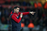 Leon Britton, the caretaker manager of Swansea city directs his players from the touchline. Premier league match, Swansea city v Crystal Palace at the Liberty Stadium in Swansea, South Wales on Saturday 23rd December 2017.<br /> pic by  Andrew Orchard, Andrew Orchard sports photography.
