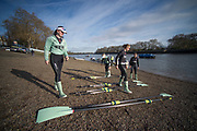 Putney, London, Varsity, Tideway Week, 5th April 2019, Embankment, CUWBC collect their blades before boating on Friday Morning, Oxford Cambridge Media week, Championship Course,<br /> [Mandatory Credit: Peter SPURRIER], Friday,  05.04.19,