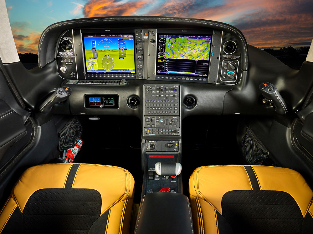 Avionics and interior of the 2018 Cirrus SR22T general aviation aircraft.  <br />