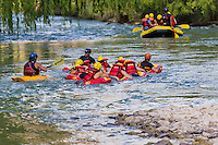 RAFTING E HYDROSPEED O RIVERBOARDING O COOL RIVER EN EL RIO ATUEL, VALLE GRANDE, SAN RAFAEL, PROVINCIA DE MENDOZA, ARGENTINA (PHOTO BY © MARCO GUOLI - ALL RIGHTS RESERVED)<br /> <br /> Riverboarding is a boardsport in which the participant lies prone on their board with fins on their feet for propulsion and steering. This sport is also known as hydrospeed in Europe and as riverboarding or white-water sledging in New Zealand, depending on the type of board used.[1][2] Riverboarding includes commercial, recreational and the swiftwater rescue practice of using a high-flotation riverboard, designed for buoyancy in highly aerated water (Wikipedia).