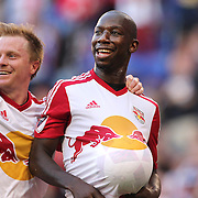 HARRISON, NEW JERSEY- OCTOBER 16:  Bradley Wright-Phillips, (right), #99 of New York Red Bulls celebrates his second goal with Dax McCarty #11 of New York Red Bulls during the New York Red Bulls Vs Columbus Crew SC MLS regular season match at Red Bull Arena, on October 16, 2016 in Harrison, New Jersey. (Photo by Tim Clayton/Corbis via Getty Images)