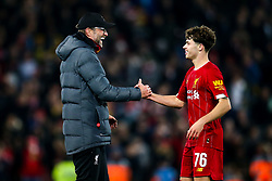 Liverpool manager Jurgen Klopp celebrates victory over Arsenal with Neco Williams of Liverpool - Mandatory by-line: Robbie Stephenson/JMP - 30/10/2019 - FOOTBALL - Anfield - Liverpool, England - Liverpool v Arsenal - Carabao Cup