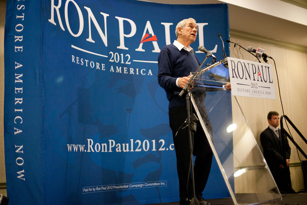 Ron Paul addresses his supporters at an impromptu campaign stop in Rock Hill, SC.