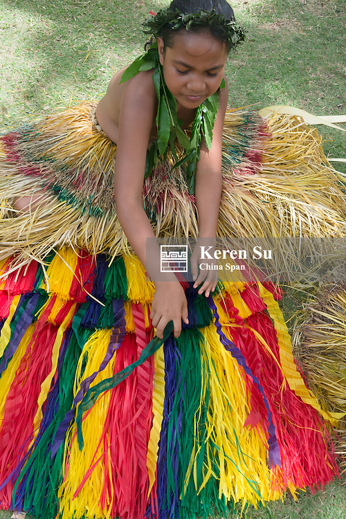Yapese girl in traditional clothing, Yap Island, Federated States of Micronesia