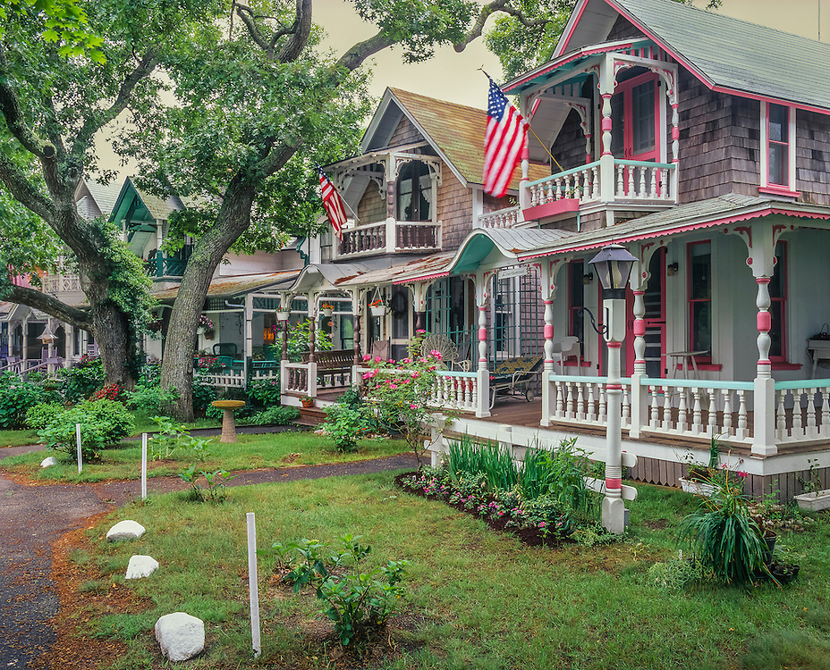 Gingerbread cottages and summer trees & flowers, Campground Meeting Association, Marthas Vineyard, Oak Bluffs, MA