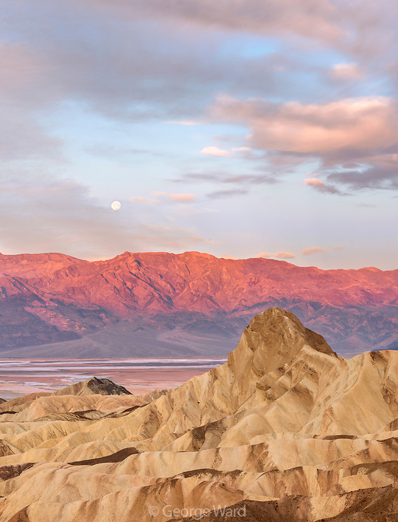 Manley Beacon at Dawn with Moon setting over the Panamint Mountains, Death Valley National Park, California