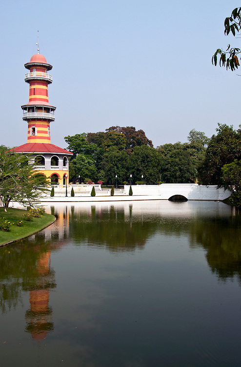 Reflection of the watch tower at the presidential summer palace, outskirts of Bangkok, Thailand.