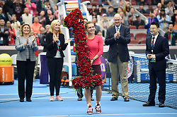 BEIJING, Oct. 7, 2017  Simona Halep (Front) of Romania celebrates after being presented with a bouquet in the shape of the number '1', after surging to world number one by winning her women's singles semifinal match against Jelena Ostapenko of Latvia at the China Open tennis tournament in Beijing on Oct. 7, 2017. Simona Halep won 2-0 and advanced to the final.  wll) (Credit Image: © Ju Huanzong/Xinhua via ZUMA Wire)